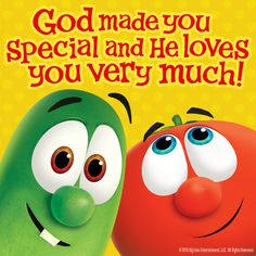 God made you special and He loves you very much! Veggie Tales Birthday, Let Go And Let God, God Made You, Veggietales, Love You Very Much, Fall Fest, Life Is Hard, School Holidays, Knowing God