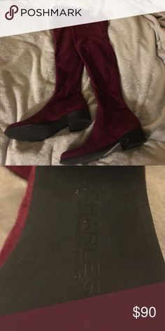 Over the knee Charles David boots - SZ 7.5 Perfect condition over the knee boot in a super cute maroon!!! So flattering, and really comfy! Charles David Shoes Over the Knee Boots