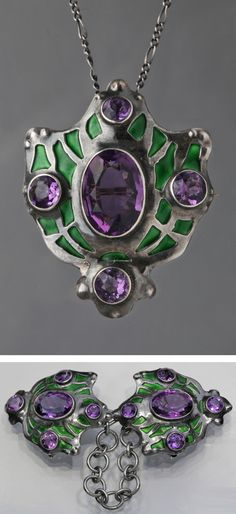 Attributed to the Guild of Handicraft Ltd. - An Impressive Arts and Crafts cloak clasp/pendant, English, circa 1900. Champleve enamel with superb amethysts. This is a metamorphic jewel being adjustable to both a pendant and a brooch. #GuildOfHandicraft #ArtsAndCrafts