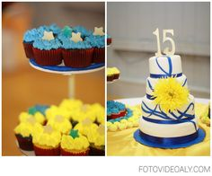 "Blue + Yellow theme Quinceanera colors. Lovely Quince cake. The yellow flower gives the ""pop"" of color to brighten the cake and dessert table \\ Photo Credit:  Lupe Juarez Photography"