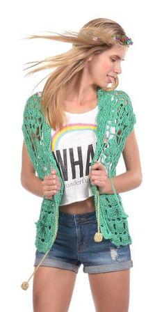 Chaleco Verano De Las Bolivianas Mujer Romantic Crochet Hilo - $ 678,00