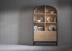 The Emil dresser features a formed curved top, open and adjustable shelving including grommets for cable management, and 2 cupboards below with shelves internally. Japan Design, Design Furniture, New Furniture, Vintage Design, Furniture Inspiration, Adjustable Shelving, Cupboard, Dresser, Shelves