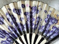 Antique Hand Painted French Chateau Folding Hand Fan, Painted With Flowers On Fabric c.1900's