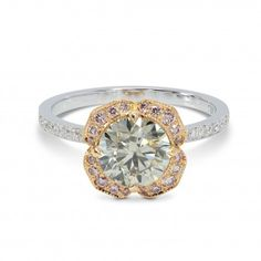 Light Gray and Fancy Pink Floral Diamond Ring