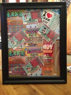 8 x 10 picture frame filled with Lotto Tickets! I did this instead of a Lotto tree for a Christmas present! Add a lucky penny- to scratch cards. Makes a great gift or raffle prize! Raffle Baskets, Gift Baskets, Christmas Gift For Dad, Christmas Gifts, Christmas Giveaways, Christmas 2019, Family Christmas, Chinese Christmas, Chinese Auction