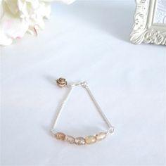 Light Amber Vintage Glass Bead Bar Bracelet | Dainty Bracelet | New Mom Gifts | Stacking bracelet | Simple Silver Bracelet | Personalized by MagnificentMouse on Etsy