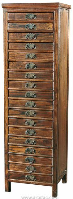 "Antique File Cabinet with 18 drawers Dimensions: W-17.75"" x D-16"" x H-59"""