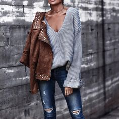 soft sweater + statement studs