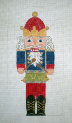 HP needlepoint 10 inch Stand up Nutcracker with Drum Needlepoint Canvas by colors1, $55.00