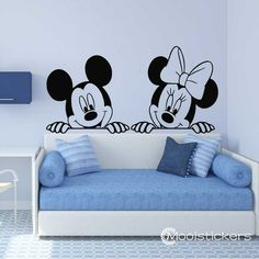 Cartoon Mickey and Minnie Mouse Wall Decal-Cute Animals Vinyl Decals Sticker For. - Cartoon Mickey and Minnie Mouse Wall Decal-Cute Animals Vinyl Decals Sticker For Kids Boy Girl Decor Simple Wall Paintings, Creative Wall Painting, Wall Painting Decor, Diy Wall Decor, Minnie Mouse Wall Decals, Mickey Mouse Room, Girl Decor, Baby Room Decor, Bedroom Decor