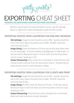 Exporting Images for Print, Web and Facebook | Pretty Presets for Lightroom