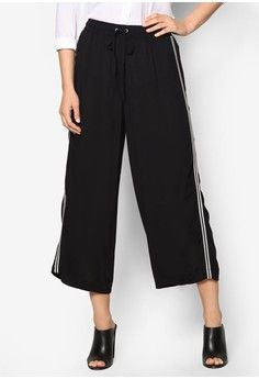 Black Wide Leg Cropped Trousers from Dorothy Perkins in black_1