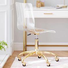 Make a clear statement of style with our Piper Acrylic Desk Chair. A perfect balance of form and function, it'll keep you on the go with swivel casters, adjustable height and 360-degree rotation, so you can approach your projects from any angle. Desk Chair Teen, Teen Desk, Gold Desk Chair, Pottery Barn Kids Backpack, Led Shop Lights, Beds For Sale, Pottery Barn Teen, Armless Chair, Desk Storage