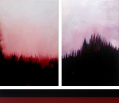 Ayesha Akbar 2016 -Meteorology(Triptych) - Acrylic on canvas - 12 x 18 inches 12 x 18 inches & 3 x 25 inches
