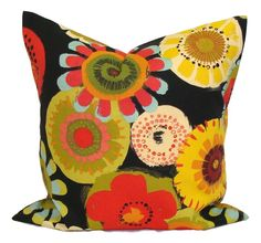 * CONTACT ME for CUSTOM SIZES* SIZE: Made to ensure a snug, professional fit for your 18x18 inch pillow forms---please refer to sizing information below TO ORDER OTHER SIZES AND COORDINATING PRINTS IN ALL SIZES, you may use this link: https://www.etsy.com/listing/287408903/outdoor-pillows-pillow-cover-decorative?ref=shop_home_active_1 COLORS: Includes olive, lime, persimmon, salmon, red, orange, blue and shades of yellow on a black background. ******Note that the...