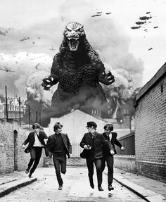 Godzilla vs the Beatles! HELP!!! Quick to the Strawberry Fields Across the Universe!