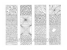 Color your own Bookmarks, Zendoodle Printable Coloring, Zentangle® Inspired, Sheet 17 Four unique hand drawn bookmarks to print and color in. They