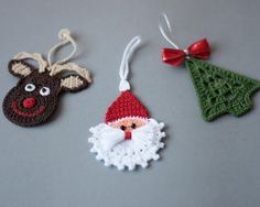 Crochet Christmas ornaments, Crochet Christmas decoration,Crochet set of 3 ornaments, Rudolph reindeer, Christmas tree and crochet Santa. These lovely Christmas ornaments are hand crocheted with high-quality cotton thread in smoke-free and pet-free environment whit great