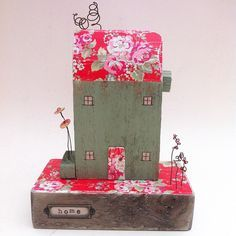 Flora House no.2 - Super-sized little wooden Pip house reclaimed wood art by ThePipHouse on Etsy