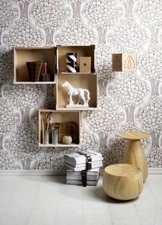 Picture Of wooden boxes wall shelves Box Shelves, Diy Wall Shelves, Wall Storage, Crate Shelves, Wall Shelving, Cubbies, Storage Boxes, Floating Shelves, Perfect Wallpaper