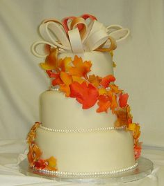 fondant wedding cake with fall leaves | Flickr - Photo Sharing!