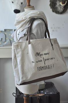 "Image of Sac ""formidable"" Diy Sac, Diy Bags Purses, Boho Bags, Linen Bag, Denim Bag, Fabric Bags, Little Bag, Shopper, Cotton Bag"