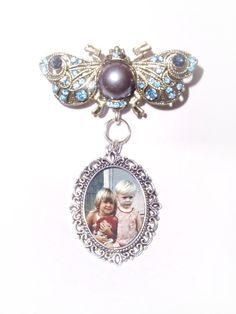 Memorial Photo Brooch Butterfly Silver Bronze Pearl Crystal Blue Gems - FREE SHIPPING by StainedGlassAddie, $24.00