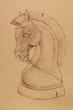 Drawing of a chess piece, the Knight, inspired from my childhood memories when I used to play chess with my dad on weekends. Chess Piece Tattoo, Pieces Tattoo, Knight Chess, Knight Art, Pencil Art Drawings, Drawing Sketches, Knight Tattoo, 3d Figures, String Art Patterns