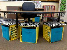 New alternative seating kindergarten milk crates ideas Milk Crate Chairs, Crate Table, Milk Crates, Seat Crates, Crate Seating, Classroom Setting, Classroom Setup, Classroom Design, School Classroom