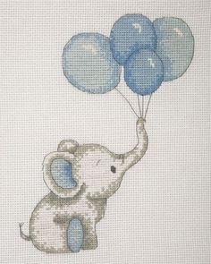 Anchor ~ Counted Cross Stitch Kit ~ Birth Record ~ Elephant with Balloons (Blue) – Cotton Club Crafts Disney Cross Stitch Kits, Baby Cross Stitch Patterns, Cross Stitch For Kids, Cross Stitch Bookmarks, Cross Stitch Fabric, Cross Stitch Art, Cross Stitch Alphabet, Cross Stitch Animals, Counted Cross Stitch Kits