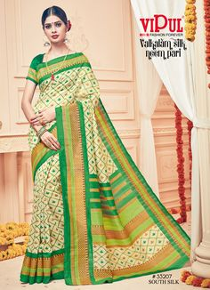 974bbe3d40fa7 Dazzling Cream and Green Silk Saree Work  -Cream based with Light Green  Border With Golden Zari Work Embroidered Border Silk Saree Fabric - Silk  Paired with ...