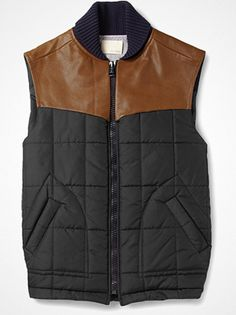 2012.10.02. Probably the most good-looking gilet this fall. Quilted with supple brown leather from Band of Outsiders.