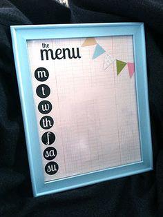 My Sister's Suitcase: $5 Friday {Easy Dry-Erase Menu Planner} Printable menu