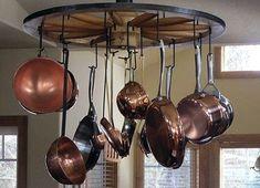 an interesting idea for a dollhouse kitchen display  [DECOR, Kitchen Pots/Pans - organization by wagon wheel / via irinapetrenko.blogspot.com.tr]