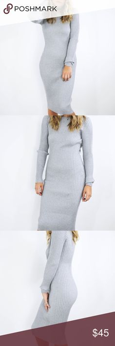 NWT grey ribbed sweater dress NWT grey ribbed sweater dress size Medium. Actual dress for sale seen in last two images. Boutique Dresses Long Sleeve