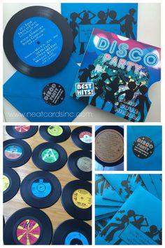 70s Disco Invitation (vinyl record invitation) and classic vinyl record centerpieces.