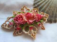 Vintage Shell Brooch-Pink  Intricate Hand Crafted 1960's Sea Shell Jewelry-Shabby Shell Pin-Dyed Vintage Shell Flower Brooch by VintageBeth on Etsy https://www.etsy.com/listing/202046749/vintage-shell-brooch-pink-intricate-hand