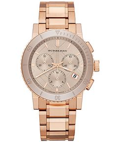 Burberry Watch, Women's Swiss Chronograph Rose Gold
