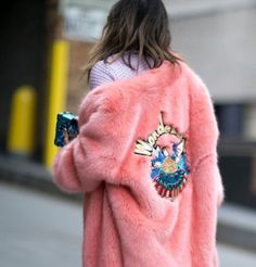 Coat: pink fur faux fur embellished jacket embroidered