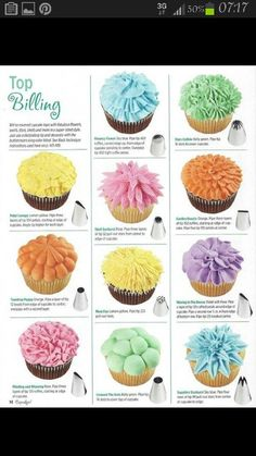 cupcake frosting ideas, not the best picture but it'll do! ~ Must try....