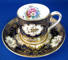 Cup and Saucer Fancy Demi Cabinet Crown Staffordshire England Floral Gold 1908-1930s