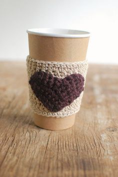 Heart Coffee sleeve cup cozy Beer Koozie natural with brown by The Cozy Project Coffee Cup Sleeves, Coffee Cup Cozy, Homemade Beer, Coffee Heart, Diy Crochet, Crochet Ideas, How To Make Beer, Beer Brewing, Beer Koozie