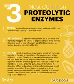 main proteases are pepsin, trypsin and chymotrypsin. The protease enzyme breaks down protein. Signs of inadequate enzymes: excess gas, indigestion, heartburn, diarrhea, constipation. Also wrinkles, joint stiffness, gray hair, lack of energy.