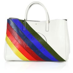 Anya Hindmarch Ebury Maxi Striped Rainbow Smiley Perforated Leather... ($2,350) ❤ liked on Polyvore featuring bags, handbags, tote bags, apparel & accessories, striped tote bag, striped tote, white tote, handbags totes and tote handbags