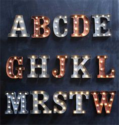 INDUSTRIAL MARQUEE METAL LIGHT UP LETTER RUSTY LETTERS Sign Wall Art Name Words $37.89