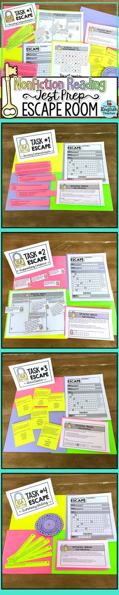 Make ELA test prep fun with this nonfiction reading escape room activity! This challenge includes a nonfiction reading passage and questions that mirror state tests. This activity is ideal for middle school and high school English language arts students. Middle School Literacy, Middle School Reading, Middle School English, English Class, Elementary Teacher, 6th Grade Ela, 5th Grade Reading, Third Grade, Sixth Grade