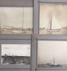 4 Antique Photographs of Identified Yachts Lynn Marblehead Nahant Massachusetts