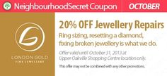 Save 20% on Jewellery Repairs with this coupon from London Gold. http://neighbourhoodsecret.net