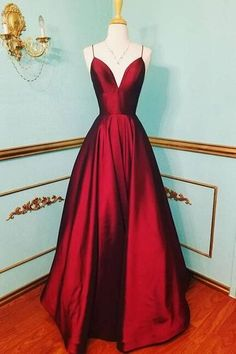 Sexy burgundy prom dress,cheap prom dress,simple prom dress,v-neck #beautifulpromdresses