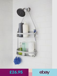 Umbra Flex Hanging Shower Caddy, Bathtub Shelf and Bathroom Organizer, 2 Shelves, Surf Blue Porta Shampoo, Dorm Bathroom, Bathrooms, Small Bathroom, Master Bathroom, Hanging Shower Caddy, Time To Tidy Up, Shampoo Bottles, Shower Accessories